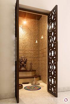 Luxurious & Intricate Latticework for Pooja Rooms - Puja Room Designs with Mesmerising Jaali Panels - Pooja Room Door Design, Design Living Room, Home Room Design, Home Interior Design, Interior Decorating, Room Tiles Design, Home Decor Furniture, Furniture Design, Temple Room