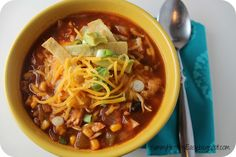 Yummy - Healthy - Easy: Healthy Crock Pot Chicken Tortilla Soup