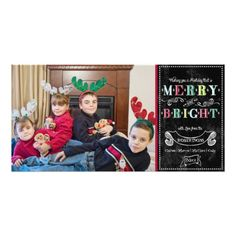 Merry n Bright Holidays Modern Photo Christmas Customized Photo Card