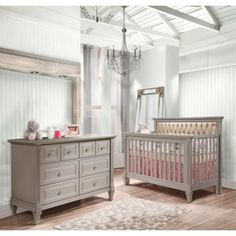 Natart Belmont Upholstered 2 Piece Nursery Set in Stone Grey