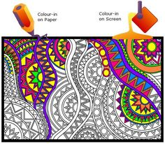 click 'n' colour:  Colour-in on paper;  Colour-in on screen;  download coloring designs and artwork