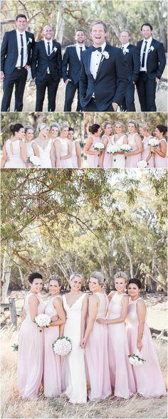 Bridal party, Blush Bridesmaids dress, Black suits http://www.kokophotography.com.au/website/recent-work/