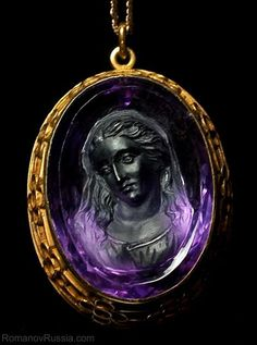 Antique Victorian Amethyst Cameo Gold Pendant  RomanovRussia on Ruby lane - wish this came in white gold