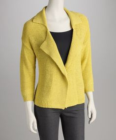 Take a look at this August Silk Candied Citron Collared Open Cardigan by Blow-Out on @zulily today!