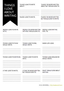Things I Love About Writing - sometimes you need a worksheet to remind you!