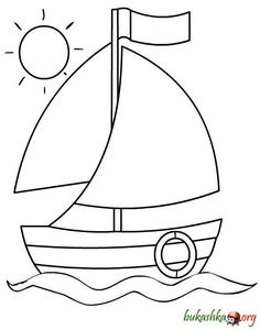 A cute sailboat for hand embroidery Drawing Lessons For Kids, Art Drawings For Kids, Easy Drawings, Art For Kids, Crafts For Kids, Easy Coloring Pages, Coloring Pages For Kids, Coloring Sheets, Coloring Books