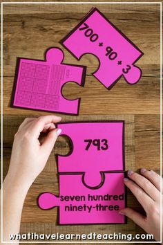 Engage students during math stations with Number Puzzles that model second grade math strategies. My students love putting together these puzzles. Teaching Second Grade, Second Grade Math, First Grade Teachers, 4th Grade Math, Teaching Math, Second Grade Centers, Math Strategies, Math Resources, Math Activities