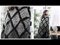 Alize Angora Gold Batik ile Her Mevsim Kullanışlı Panço- Suitable Poncho. Needlepoint Designs, Knitted Blankets, Free Crochet, Crochet Patterns, Seasons, Knitting, Model, Videos, Fashion