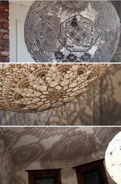 DIY DOILY LAMP creates beautiful shadows and so simple.  I use to do a project like this with my Mom when I was little. Now I can make a lamp!
