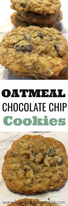 Delicious oatmeal chocolate chip cookies. These cookies are buttery, thin, chewy and oh so good! You'll want to make them again and again. #cookies #oatmealcookies #rolledoats #chocolatechips #dessert #menuplan #kidfriendly #butter
