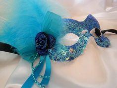 Turquoise masquerade mask uk party masks by MasksbyDebbsElliman