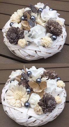 Natúr-fehér tavaszi asztaldísz