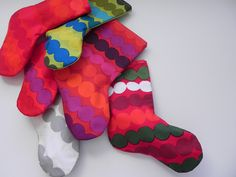 Christmas Stockings - 6 CINDY LOU Stockings - Inspired by Dr Seuss - Marimekko Rasymatto Fabric - One of Each Color. $210.00, via Etsy.