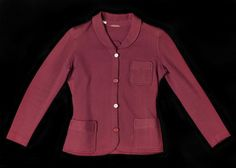 Woman's golfing jacket of burgundy wool jersey: France, Paris, by Lanvin, c. 1934 - 1935
