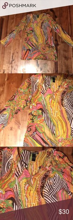 Lucky Brand Colorful Blouse Lucky Brand Jeans Blouse.  Fun colorful blouse that looks great with jeans! Lightweight with cute stitching in front and back. Lucky Brand Tops Blouses