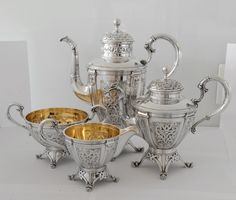 Gustav Gaudernack design for David Andersen. Coffee and tea set exhibited at the World trade Exhibition in Paris 1900. Silver with dragon style ornaments. Coffee pot illustrated on p127 in Revue de la Bijouterie, Joaillerie and Orfèvrerie (Paris) No 8, December 1900 (Photo: A.M. Vindedal)