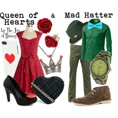 Couple outfits inspired by the Queen of Hearts and the Mad Hatter from Alice in Wonderland!  For more Disney inspired outfits, check out my blog: http://thejoyo...