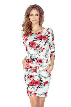 Dámské sportovní šaty netopýří střih na zavazování s kapsami květované bílé Fashion Addict, Casual Looks, Outfit Of The Day, Street Wear, Dresses For Work, Street Style, Spandex, Stylish, Womens Fashion