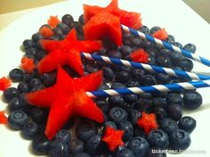 of July Food - watermelon stars on a bed of blueberries Fourth Of July Food, 4th Of July Celebration, July 4th, Holiday Snacks, Holiday Fun, Holiday Recipes, Fruit Sticks, July Holidays, Fruit Plate