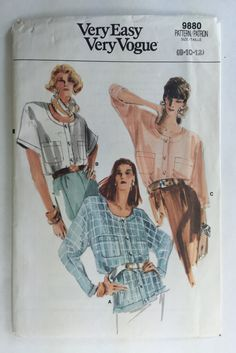 Sizes 8,10,12. Bust 31.5-34. Waist 24-26.5 Dated 1987 Vogue Vintage 9880 Misses Half Size Dress Uncut and factory folded, pattern and instructions complete. For more of my patterns please visit my Etsy Shop https://Dayfinds.etsy.com