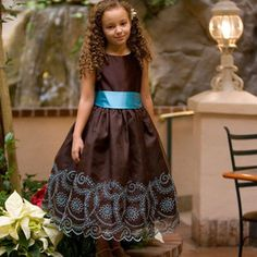 Brown and turquoise dress for little girls - this would be a cute flower girl dress.