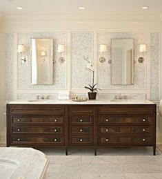 Gorgeous vanity featuring the Bryant Sconces: TOB2002