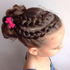 🎀Dutch Braid and Pull Through Braid into Messy Bun🎀 💕Twinnig with a bunch of braiders with a hairstyle inspired by Chelsea 🎀Small felt bow made by me🎀 Girls Hairdos, Lil Girl Hairstyles, Dance Hairstyles, Cool Braid Hairstyles, Girls Braids, Pretty Hairstyles, Gymnastics Hairstyles, School Hairstyles, Updo Hairstyle