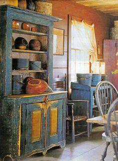 Primitive Distressed Blue Cupboard