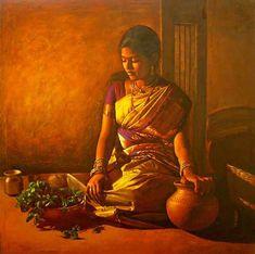 Paintings of rural indian women - Oil painting (12). Follow us www.pinterest.com/webneel