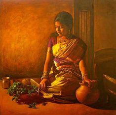 Paintings of rural indian women - Oil painting (12). Follow us www.pinterest.com/webneel