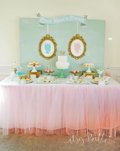 Royal Baby Shower Dessert Table - so elegant for a baby boy or girl (or both!) Great idea for a gender reveal baby shower party! Baby Shower Desserts, Baby Shower Table, Shower Party, Baby Shower Parties, Baby Shower Themes, Baby Shower Decorations, Shower Ideas, Shower Games, Shower Favors