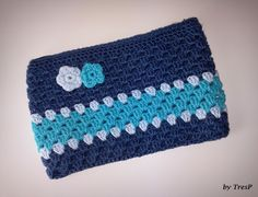 TresP craft blog: COMO HACER EL NECESER EN TONOS AZULES DE CROCHET. In spanish but with clear step by step photo tutorial and graphics