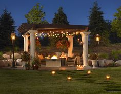Gazebo with built in fire pit backyard patio plans outdoor ideas Gazebo, Backyard Pergola, Fire Pit Backyard, Backyard Landscaping, Pergola Ideas, Patio Ideas, Patio Roof, Diy Patio, Outdoor Ideas