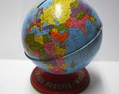 Vintage Tin Globe Bank, perfect place card holder for bon voyage or travel party