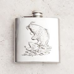 Personalised stainless steel fish hip flask