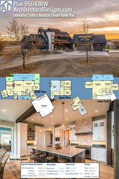 Architectural Designs Innovative Country Mountain Dream Home Plan gives you over 3,800 square feet of living space and the flexibility of 3-5 beds (the master on the main level and kids' bedrooms upstairs, each with a loft). Ready when you are. Where do YOU want to build?