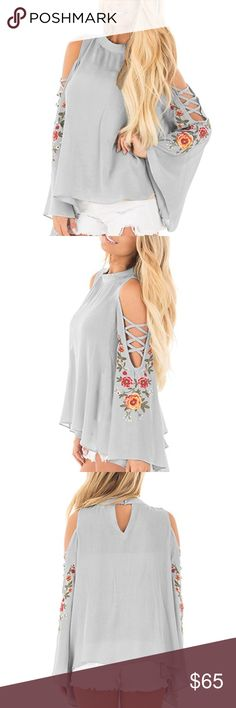 Bell Sleeve Cold Shoulder Embroidered Blouse Gorgeous pale grey cold shoulder blouse with feminine embroidered flowers. Bell sleeves with strappy cut outs completing the perfect boho look. Loose and flowy with a chic keyhole back.  ❌ Sorry, no trades.  405858  cold off shoulder sleeve ruffle  fairlygirly fairlygirly Tops Blouses