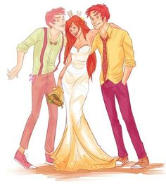 Ginny Weasley on her wedding day with her older twin brothers, Fred and George Weasley.