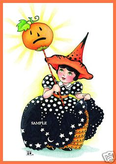 Cute Mary Engelbreit Halloween Magnet by Very Merry Magnets...licensee of Mary Engelbreit Studios.
