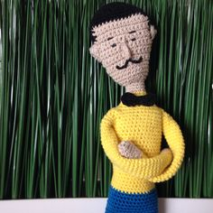 Friends for sale. Knitted toys. Knitted man.