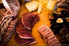 Meat & cheese display with figs.