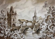 Great #architecture #drawing by artist Julliane (@julliane_art) depicting #PragueBridge (a.k.a. #CharlesBridge) in #Prague #CzechRepublic. This #historic #pedestrian #bridge that crosses the #VltavaRiver was constructed between 1357-1402. The #shadowy figures you see on the bridge are actually some of the 30 #statues that populate/decorate this stone #thoroughfare.  It is really cool how Julliane drew #architectural #filigree and scrollwork in the foreground. I am not sure if this was based…