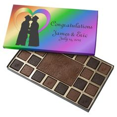 Personalized Two Grooms Rainbow Heart 45 Piece Box Of Chocolates Chocolate Gifts, Chocolate Box, Belgian Chocolate, Rainbow Heart, Rainbow Pride, Chocolates, Holiday Boutique, Rose Gift, Perfect Pink