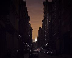 The Chrysler Building shines in the distance while SOHO resides in darkness after Sandy.