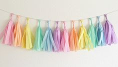Pastel Rainbow Tissue Tassel Garland Unicorn by OhhHowCharming This without yellow & blue