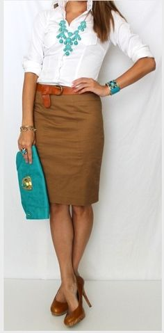 Great summer outfit. Teal/white and tan.
