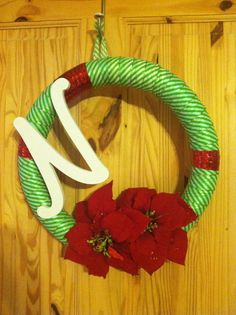 Christmas wreath I made out of a pool noodle.