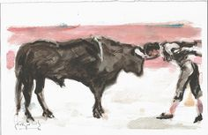 """Julían García, VLC""  Desplante, El Murciélago. Watercolor (27x18 cm) Artist: Sergio DS (c) 2016 Moose Art, Animals, Exhibitions, Animales, Animaux, Animais, Animal"