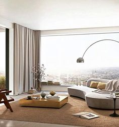 Futuristic penthouse living room