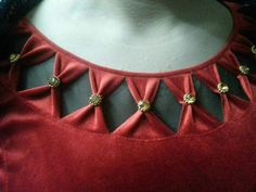 Best 11 Stylish and Beautiful Neck Design with Dori and Pearls Cutting and Stitching Chudidhar Neck Designs, Salwar Neck Designs, Kurta Neck Design, Neck Designs For Suits, Saree Blouse Neck Designs, Neckline Designs, Dress Neck Designs, Stylish Dress Designs, Stylish Blouse Design